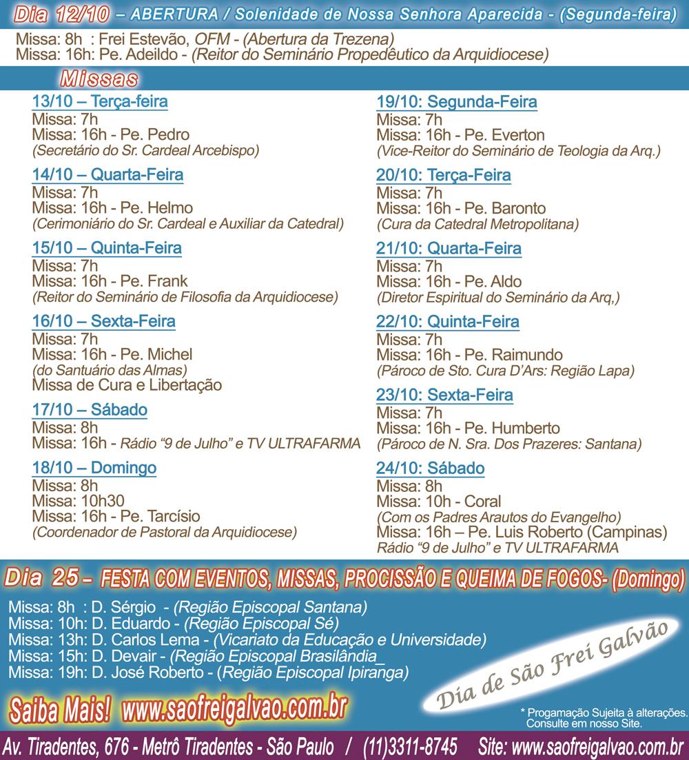 programacao Festa de Frei Galvão 2015